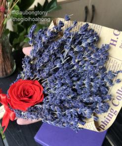 Bó lavender khô hoa hồng đỏ vĩnh cửu
