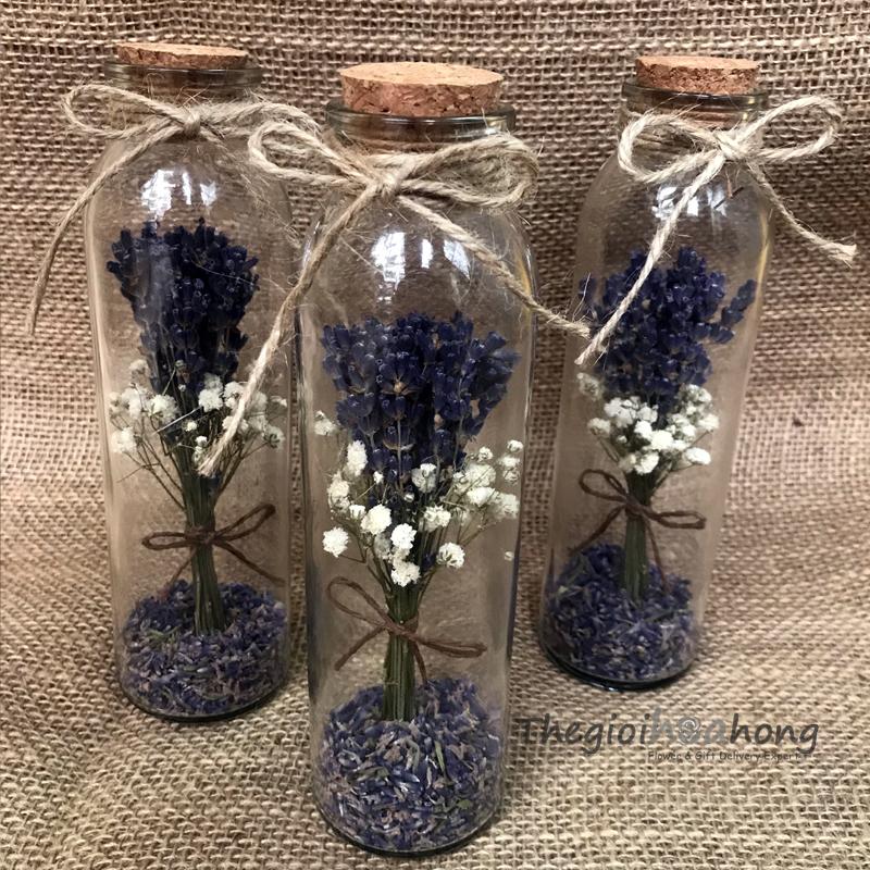 Lọ Thủy tinh hoa oải hương- lavender khô