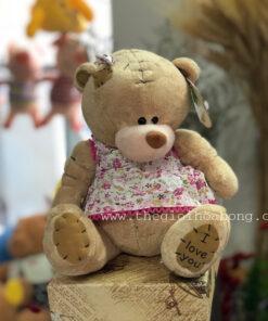 Gấu Teddy I Love You mặc đầm