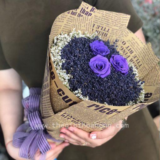 Bó lavender hoa hồng tím