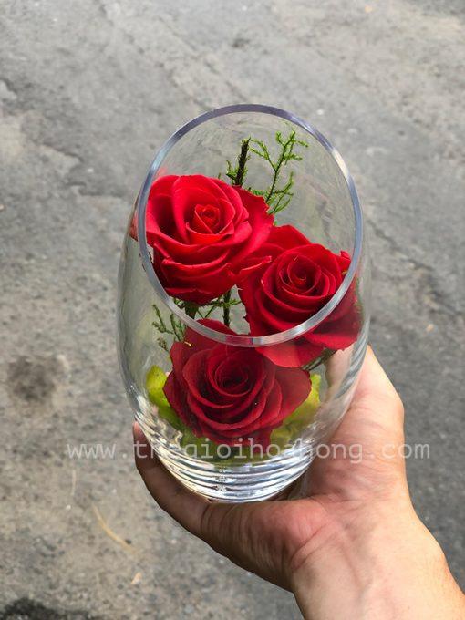 Bình hoa hồng đỏ vĩnh cửu - Anh Yêu Em