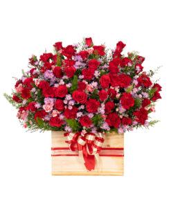 Hộp hoa hồng đỏ - Happy Anniversary 1